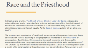 """A picture of the top portion of the Race and the Priesthood essay. Reads """"Race and the Priesthood"""" with smaller text underneath the title."""