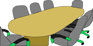 Cartoon drawing of a yellow oval conference table with eight grey business chairs positioned around the table.