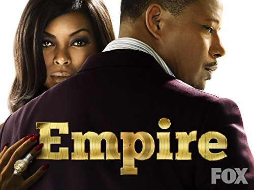 Words say Empire and Fox. Picture of season 1 Empire logo with a woman, Cookie Lyon, looking at the camera, and the man, Luscious Lyon, is dressed nicely with his back towards the camera. He is looking over his shoulder at the camera.