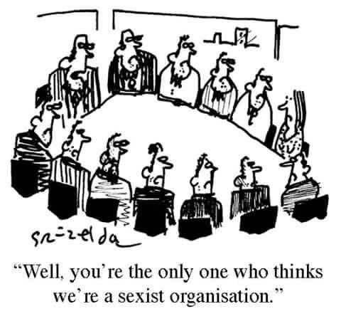 "Black and white hand drawn comic with 12 men and one woman sitting around a table. All of the men are looking at the woman. Text reads, ""Well, you're the only one who thinks we're a sexist organisation."""